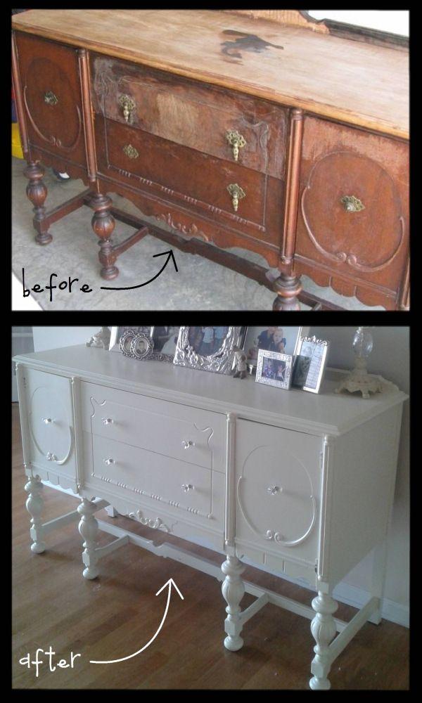 buffet AVANT/APRES DIY recyclage Pinterest Meuble, Mobilier de - Comment Peindre Un Meuble Vernis