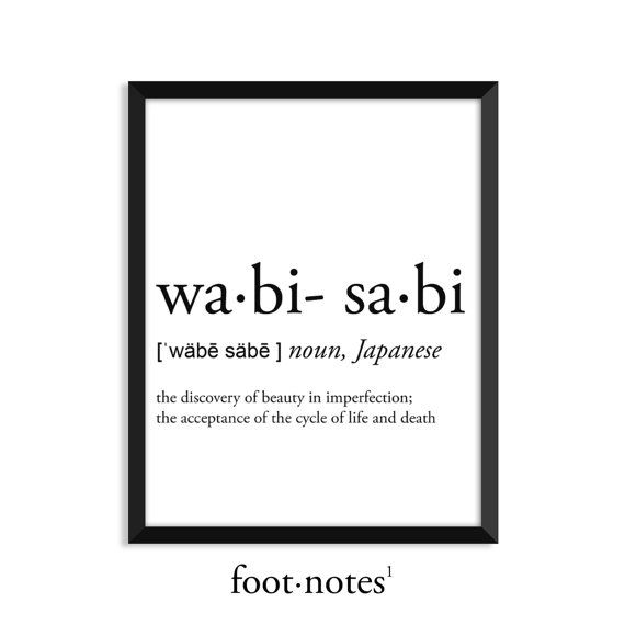 Photo of Wabi-Sabi definition, dictionary art print, college dorm decor, dictionary art, office decor, minimalist poster, funny definition