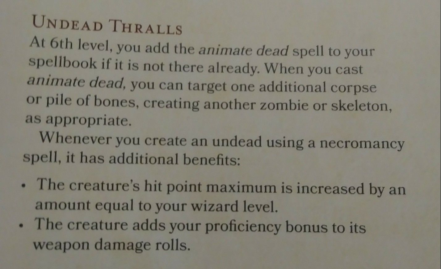 Undead Thralls D&D 5e school of Necromancy Arcane Tradition