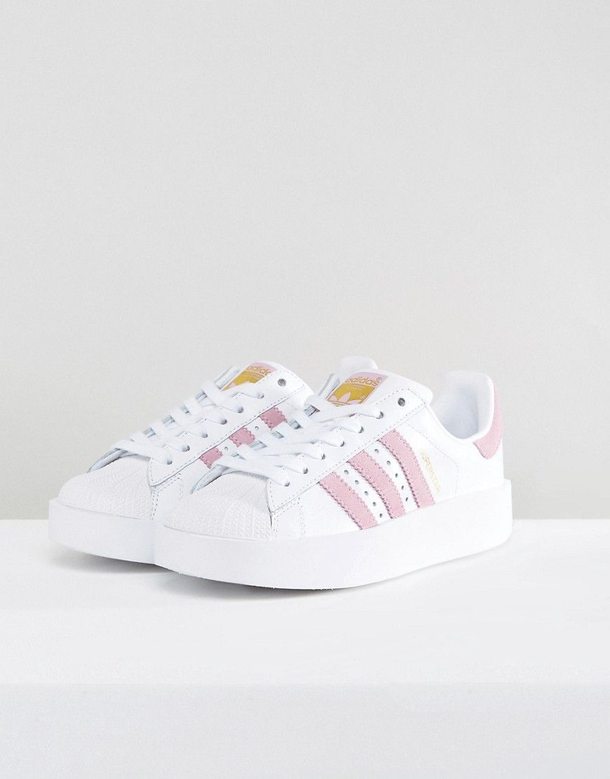 buy popular c6c1b 780b2 adidas Originals White And Pink Superstar Bold Sole Sneakers - White