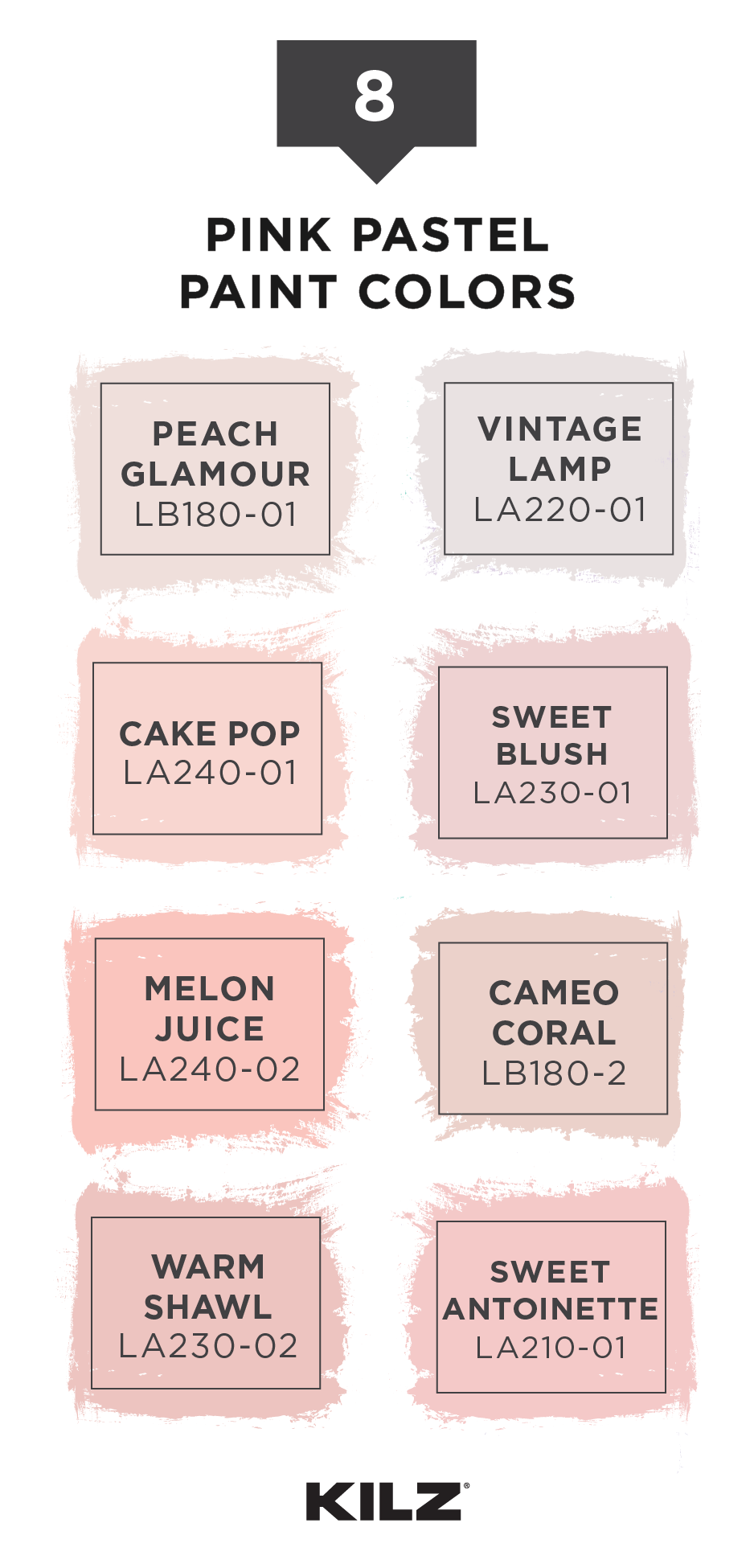 Check Out This Pink Pastel Color Palette From Kilz Complete Coat Paint Primer In One Light Shades Like Peach Glamour Vintage Lamp Cake Pop