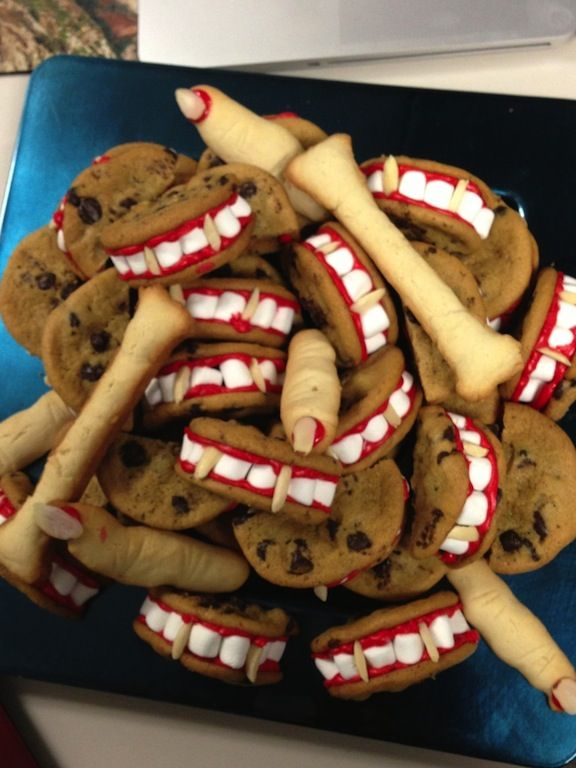 Halloween office party Made Frankenstein Fingers, almond bones and - halloween office ideas