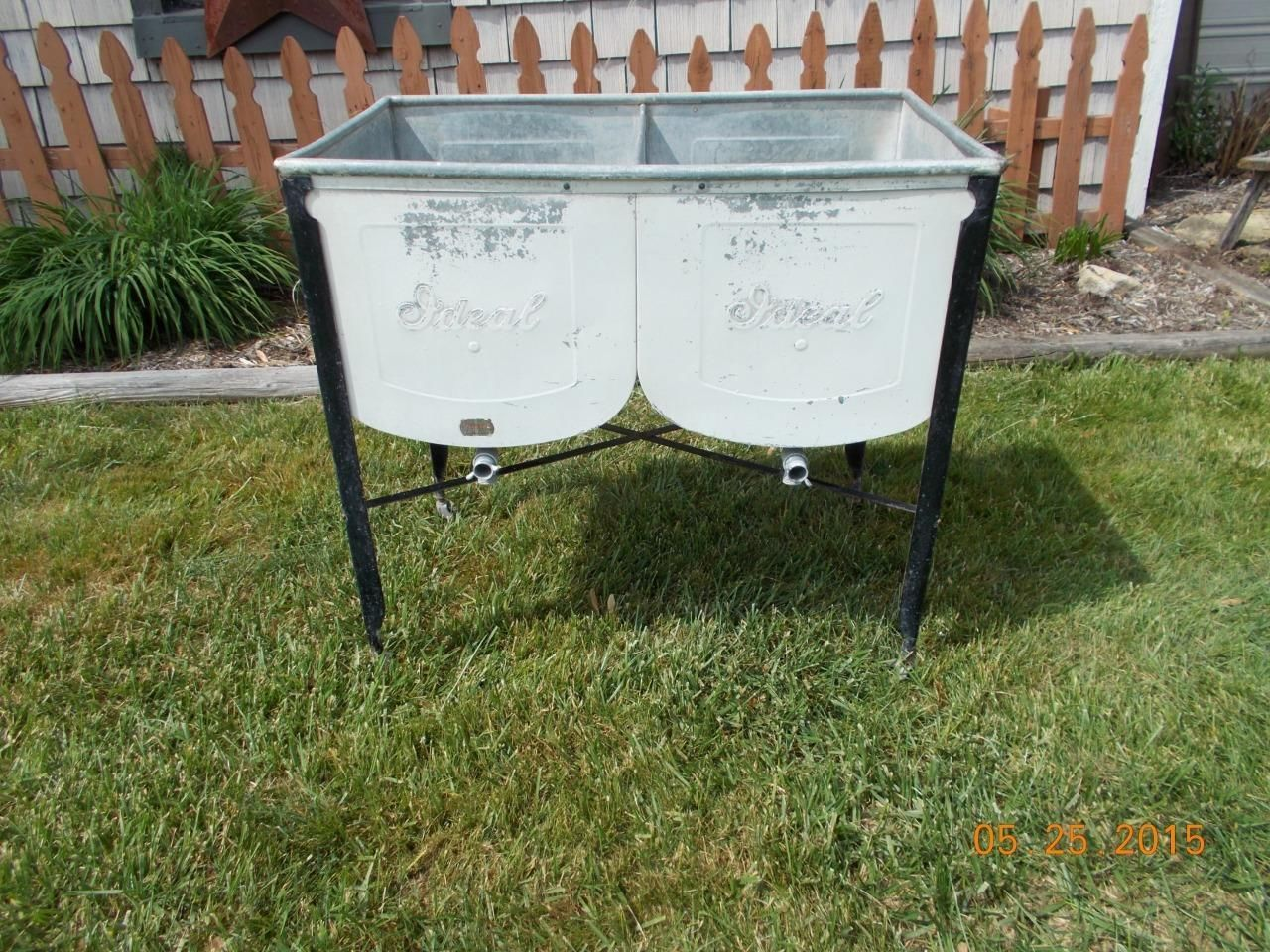 vintage galvanized ideal standing double wash tub basin sink local pick up only ebay