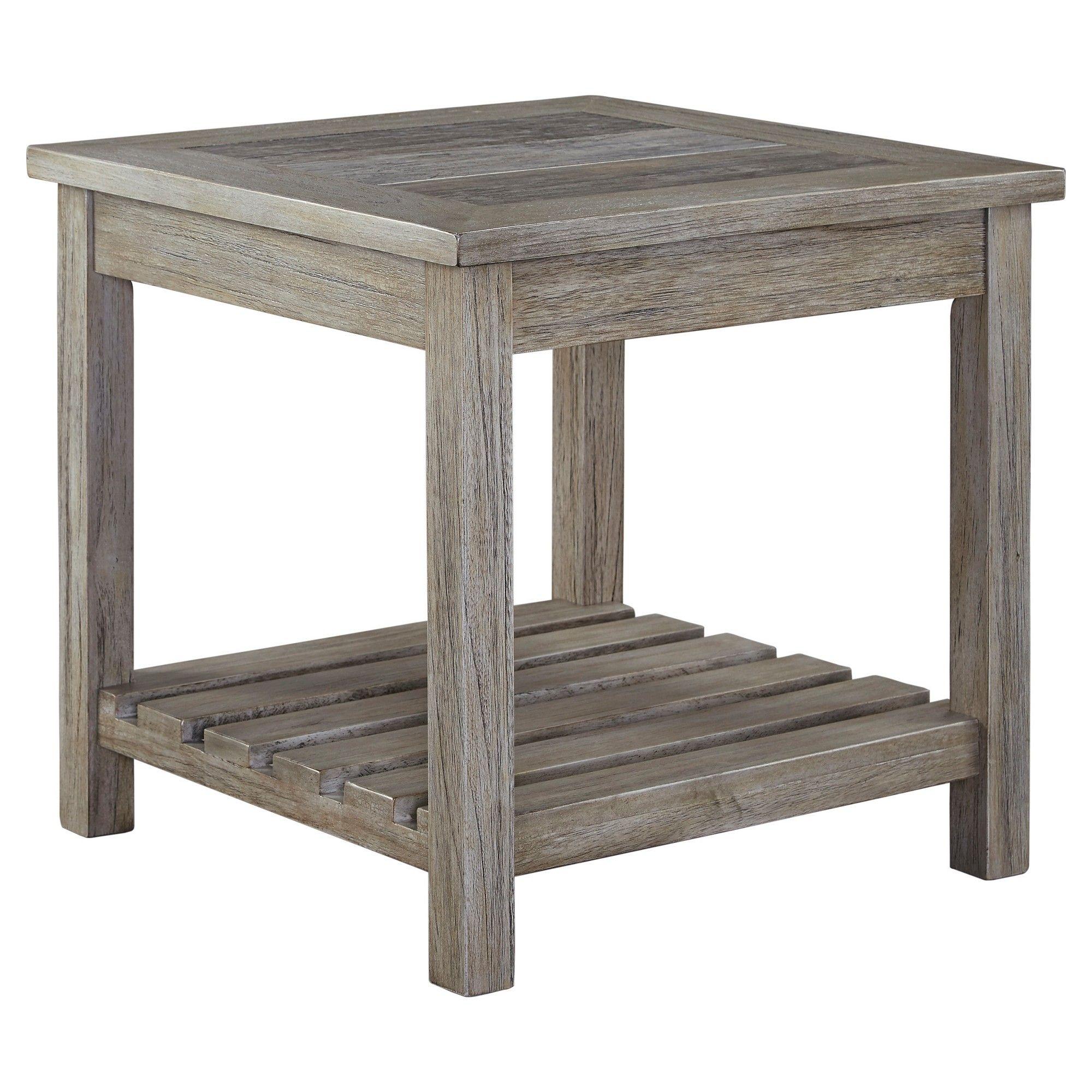 Signature Design By Ashley Veldar Square End Table Whitewash - Ashley veldar coffee table