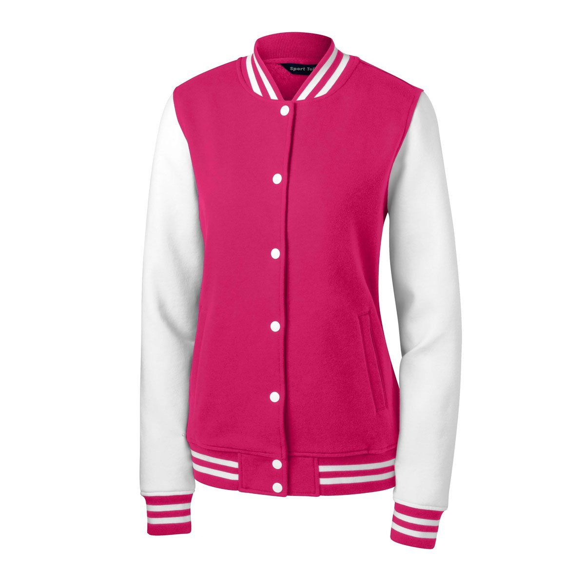 Sport-Tek Women's Pink Raspberry/White Fleece Letterman
