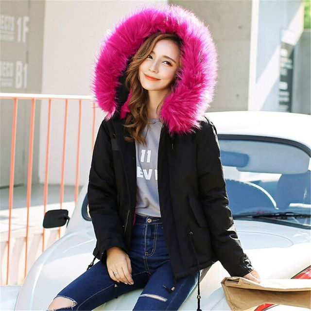 Women Parka Jacket Fur Collar Military Army Green Coat With Fur ...