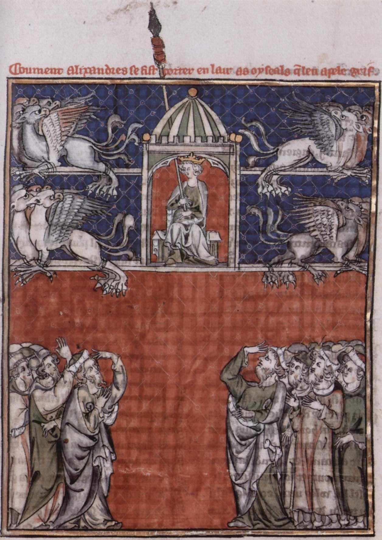 Miniatura fiamminga dall'Histoire du bon roi Alexandre, XIII secolo, (?) più probabile almeno XIV secolo, Kupferstichkabinett di Berlino