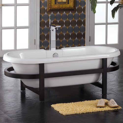 Audrey Acrylic Double Ended Tub On Oval Wood Stand