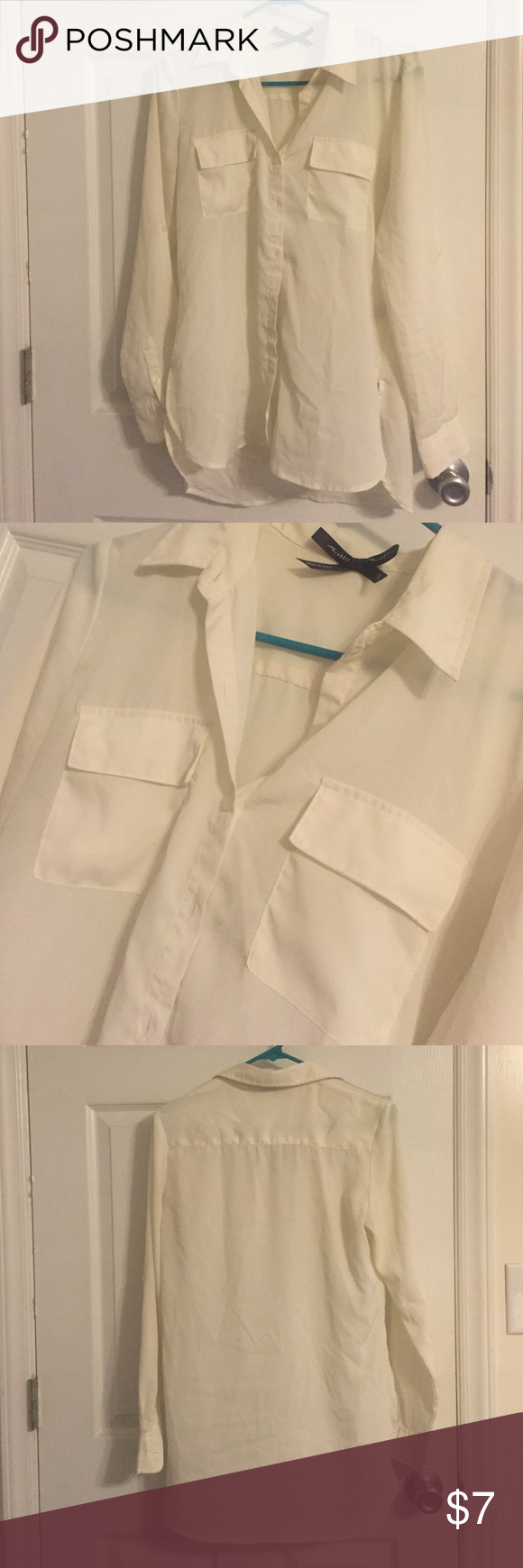 Button Up Off White Blouse Super cute! Sleeves roll up and button. Full button up in front, has 2 front pockets. Tops