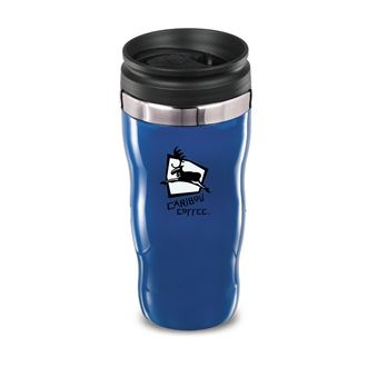 16 oz. Double walled Bio-DPS biodegradable tumbler. This sculpted biodegradable tumbler makes it fun to hold and conjures up images of waves. Feel comfortable that you are having a positive effect on the environment. Patent #D475,395 S