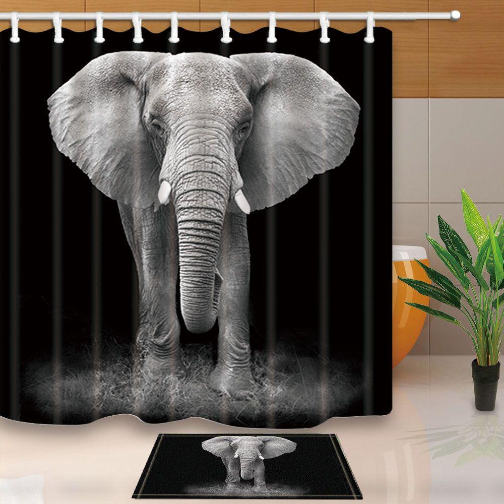 Rhino On Mountain Animal Wildlife Bathroom Fabric Shower Curtain Set 71Inches