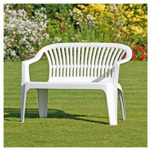 Tesco Direct Plastic Garden Bench White Plastic Garden Bench Garden Bench Outdoor Chairs