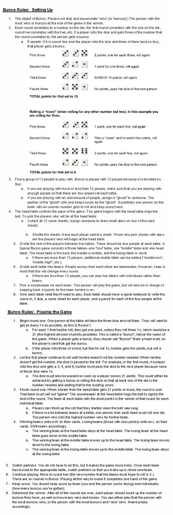 picture about Bunco Rules Printable called Bunco cube recreation suggestions how towards perform