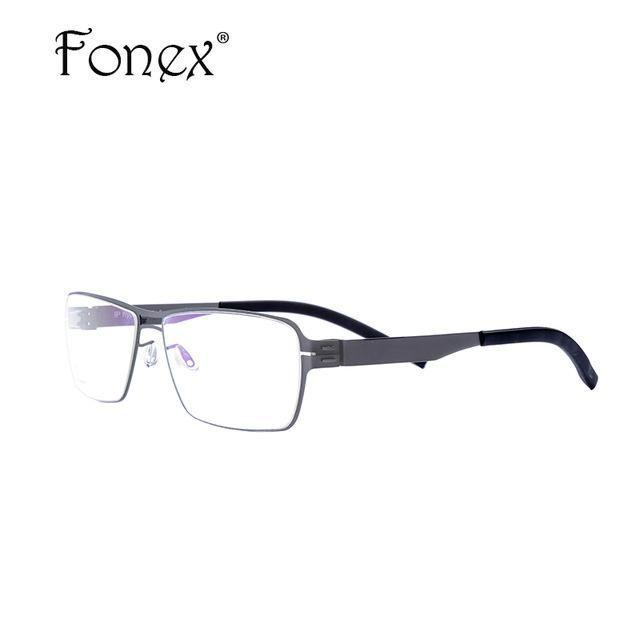 8abc132fb71 FONEX No Screw Germany Design ic Optical Oliver Thin Elastic Glasses Frame  Men Myopia Prescription Ber