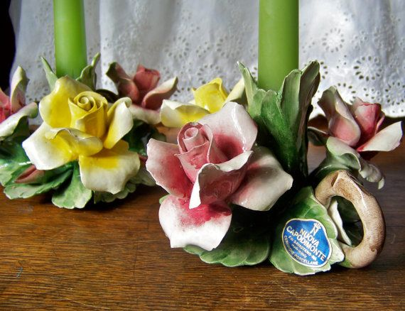 Capodimonte Porcelain Candle Holders By Cynthiasattic On