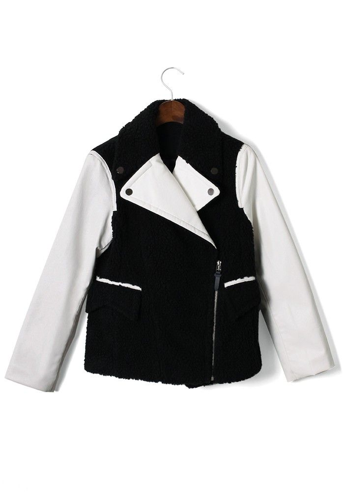 #Chicwish  Varsity Sweat Jacket With Faux Leather Sleeves