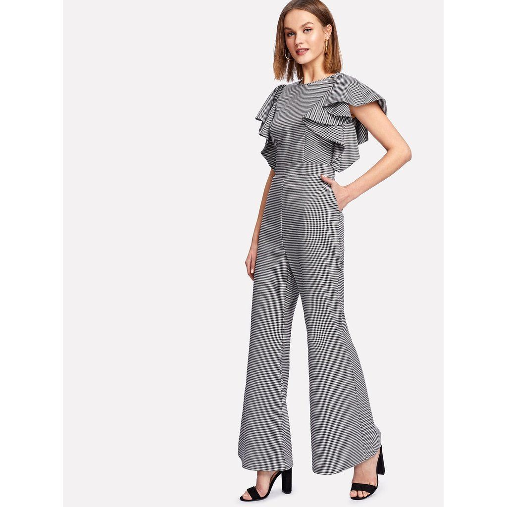 cc67fc7c560 Symmetrical Flounce Shoulder Flare Hem Gingham Jumpsuit in 2018 ...
