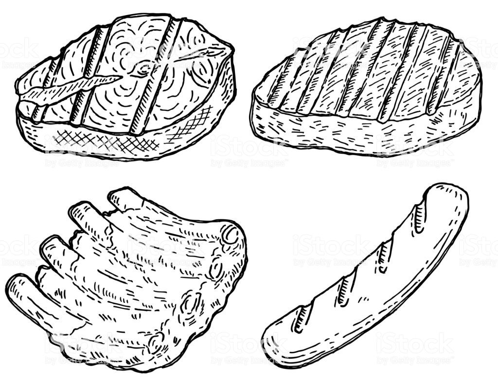 Set Of Hand Drawn Grilled Meat Grilled Salmon Roasted Steak Meat Restaurant Roast Steak Grilled Salmon