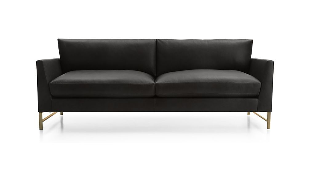 Modern Sectional Sofas Genesis Leather Sofa with Brushed Brass Base