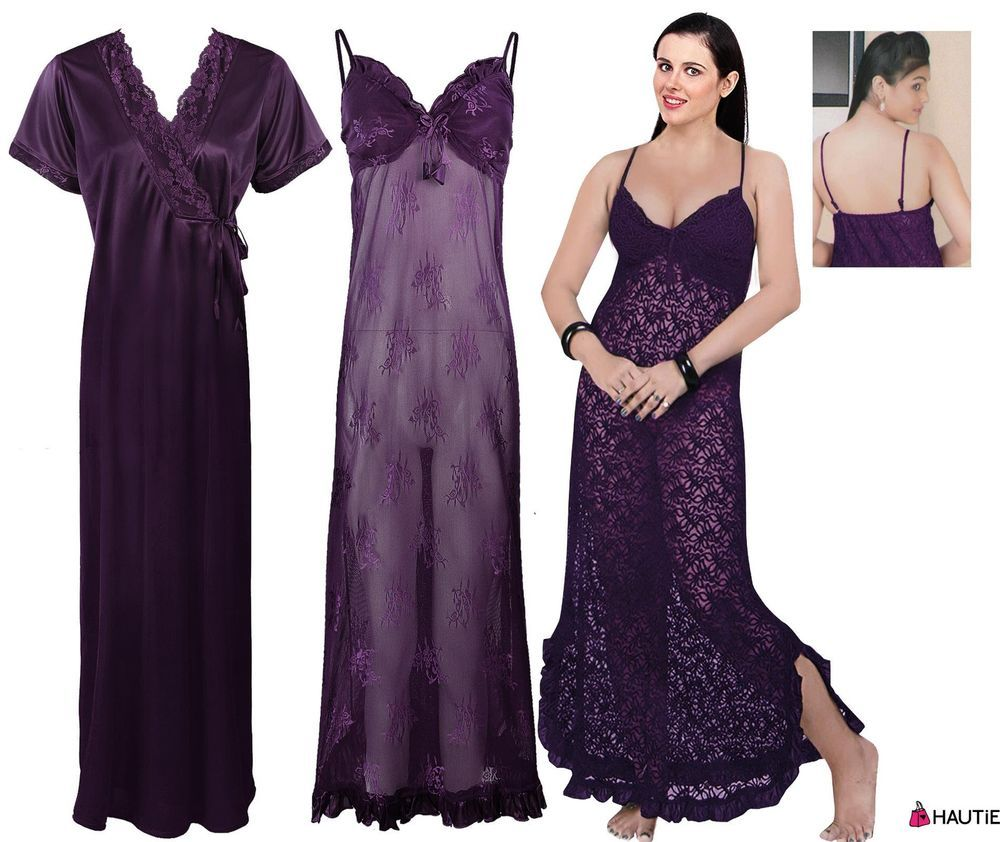2pc nighty honeymoon nighty gown chemise robe womens nightdress