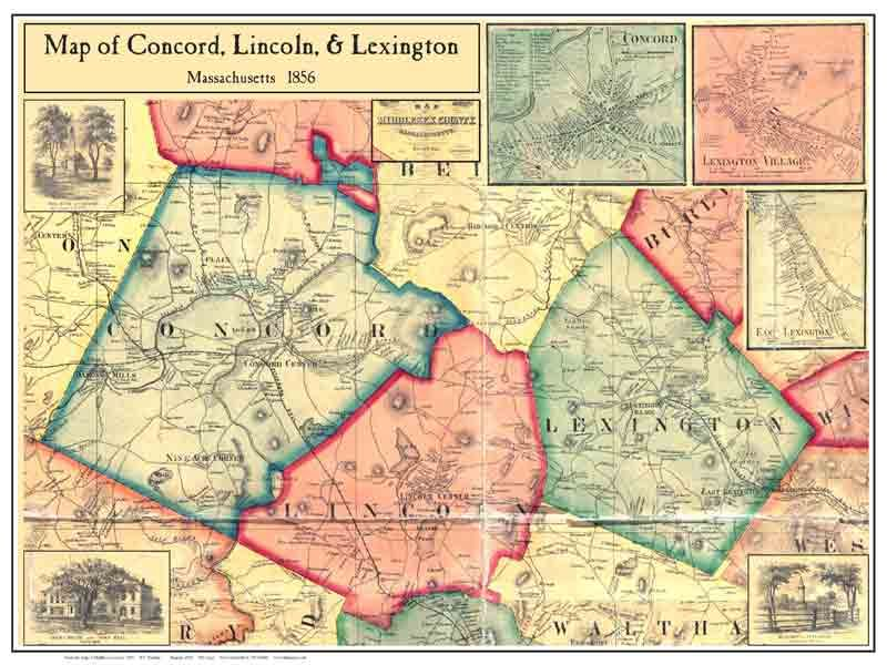 1856 Map Of Concord Lincoln Amp Lexington MA Leapschool