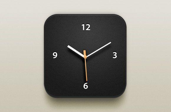 PSD Freebie: Beautiful clock iOS icon PSD