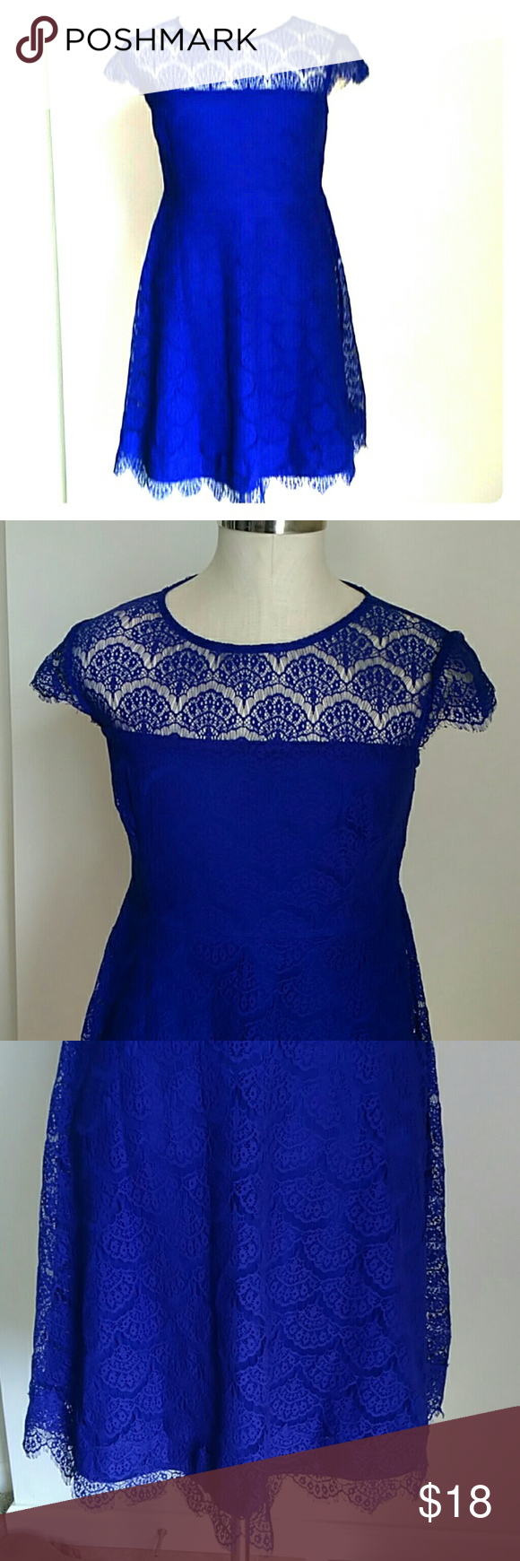 A Kash And Jess Lace Dress Blue Sz L Skater Cap Lovely Look