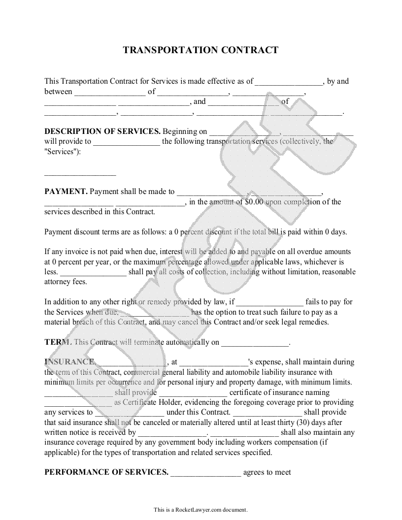Free Transportation Contract Free To Print Save Download Contractor Contract Contract Agreement Contract Template