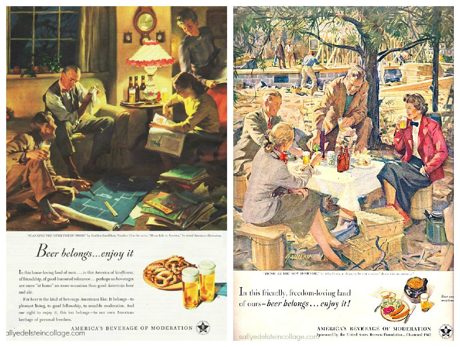 Vintage Ads 1950s | vintage illustration retro beer ads suburbia 1950s