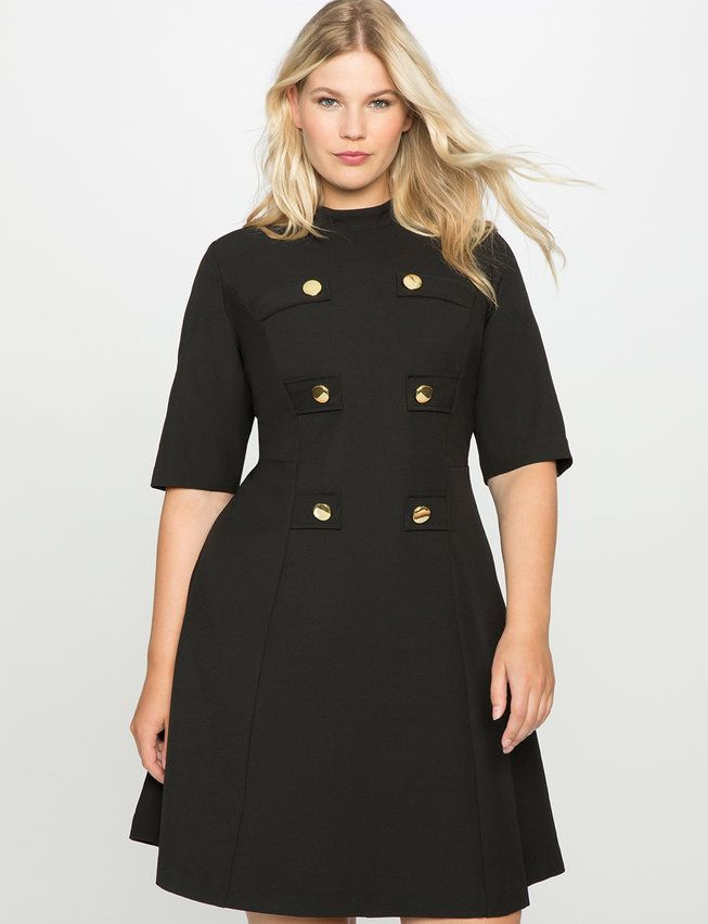 Mock Neck Military Dress with Sleeves | Women\'s Plus Size ...