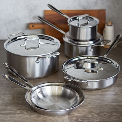 All Clad D5 Brushed Stainless Steel 10 Piece Set Sur La Table Brushed Stainless Steel All Clad Enamel Pan All clad d5 brushed stainless steel 10 piece set