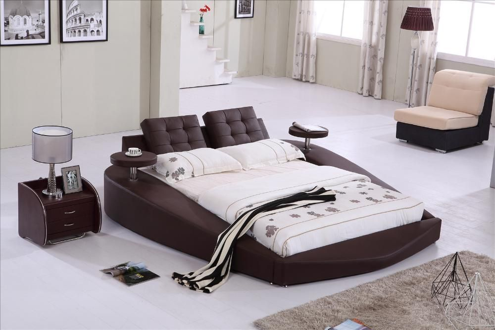 Round Bed King Size Bed Top Grain Leather Headrest King Size Mattress King Size Bedding Sets King Size Canopy Bed