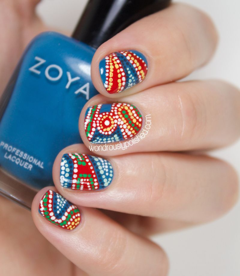 Indian Ocean Polish Aboriginal Dotted Nail Art: Wondrously Polished: 31 Day Challenge 2.0, Day 8