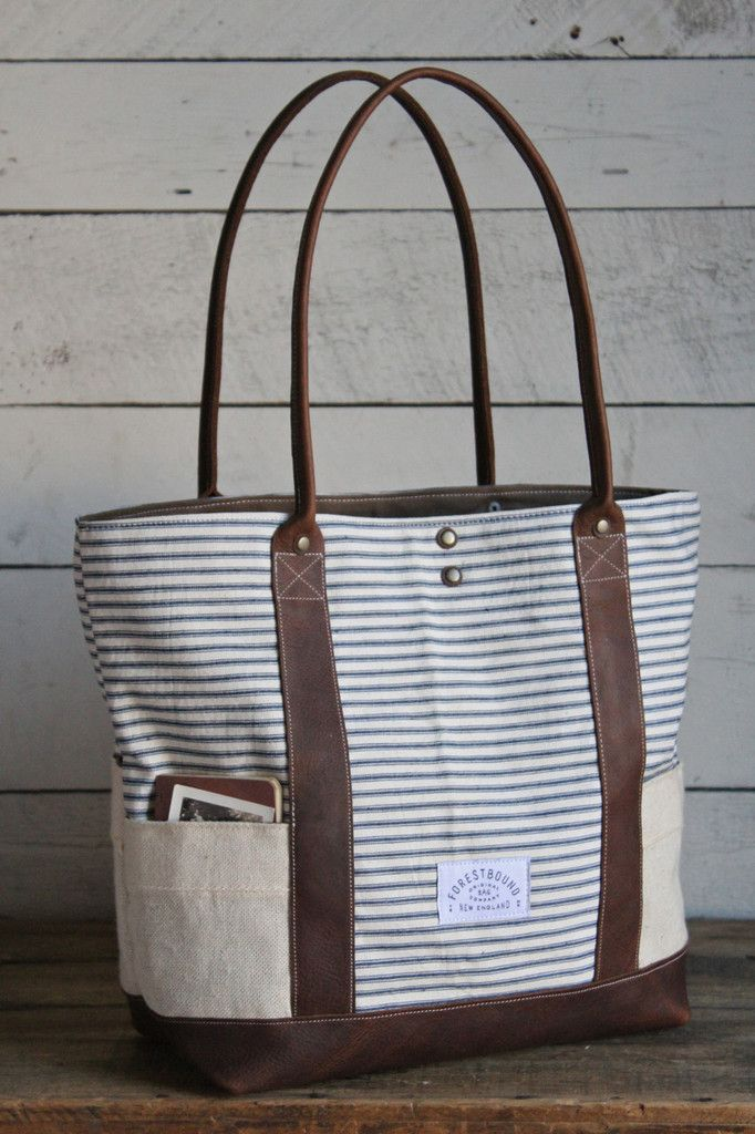 dbfde3691 1950's era Striped Carryall Diy Handbag, Ticking Fabric, Tote Backpack, Tote  Bag,