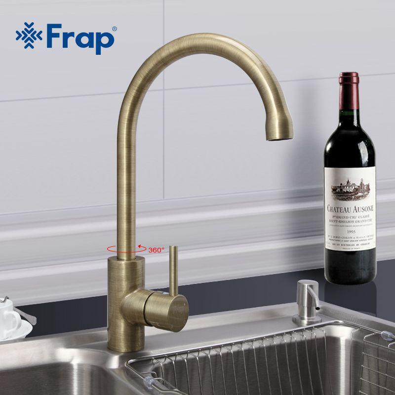 Frap New Arrival Retro Style Bronze Brushed Kitchen Faucet Cold Magnificent Discount Kitchen Faucets 2018