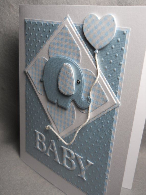 Baby boy card, baby boy, new baby boy, welcome baby, blue w white checks, embossed, dimensional, baby boy shower, blank inside, handmade