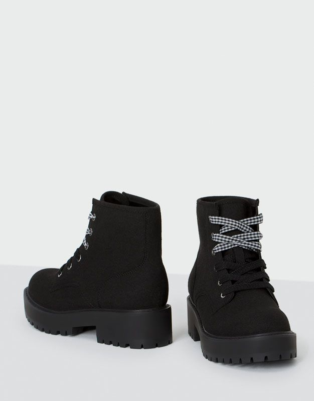 Double Cord Ankle Boots Shoes New Woman Pull Bear Turkey