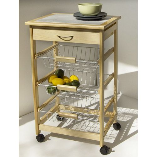 Tiled Countertop Utility Cart With Basket Shelves Kitchen Islands Storage Pinterest