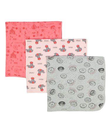 This Heather Gray & Pink Donut Blanket Set is perfect! #zulilyfinds