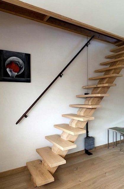 Small light colored wooden stairs industrial design for Garage loft stairs