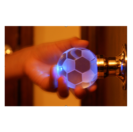 Crystal Soccer Ball Door Knob Set shown illuminated - in 1 color ...