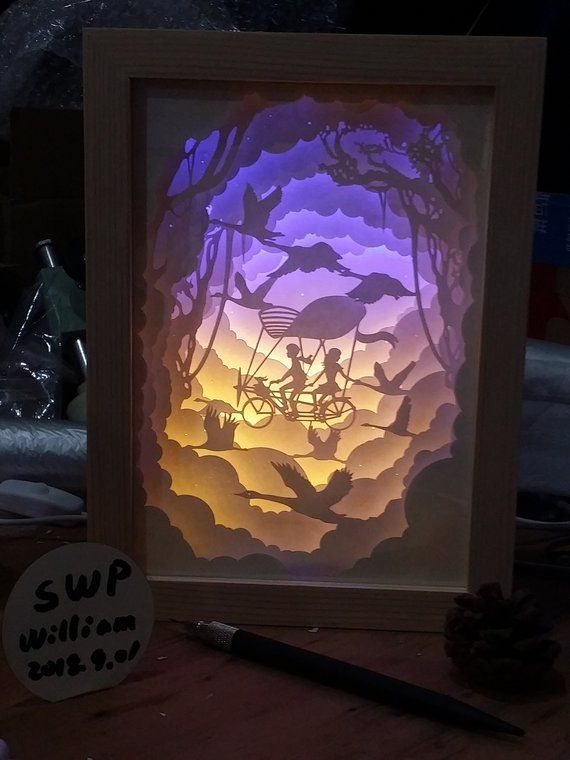 Paper cut light boxes/night light/gift Noel Pinterest Paper