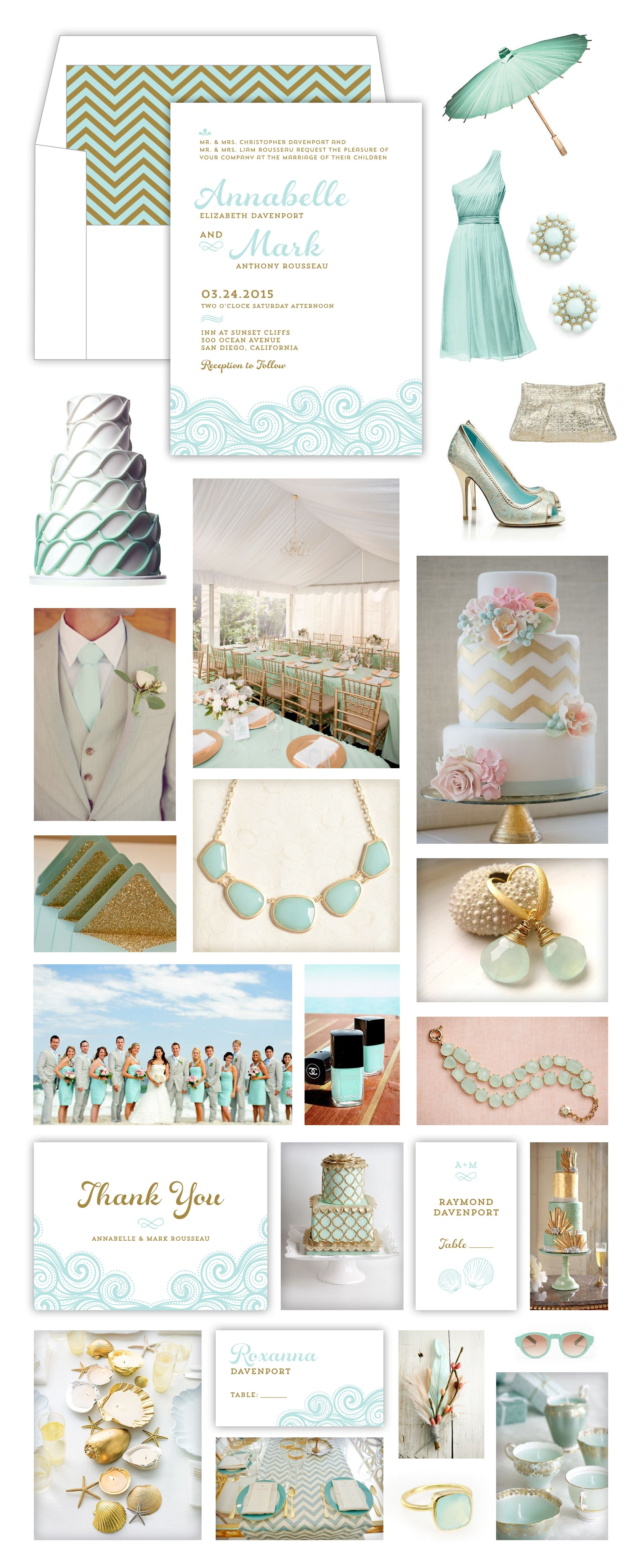 Mint Gold Beach Wedding Theme Inspiration Board - Mint Gold Waves ...