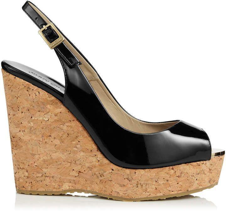4fffa6827b4 Jimmy Choo PROVA Black Patent Leather Cork Wedge Sandals
