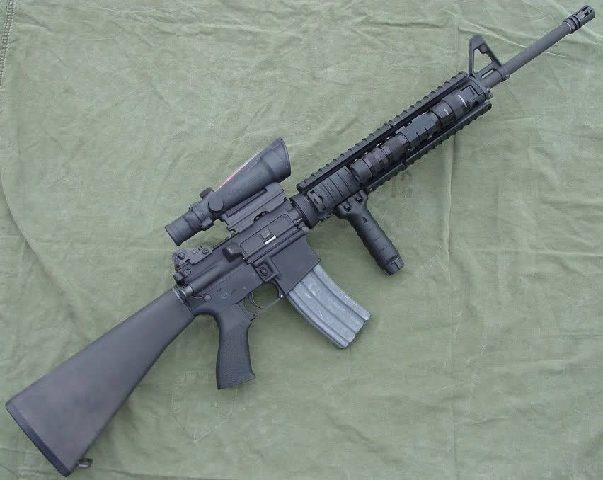 m16a4 with forward grip and acog rifle pattern ar pinterest