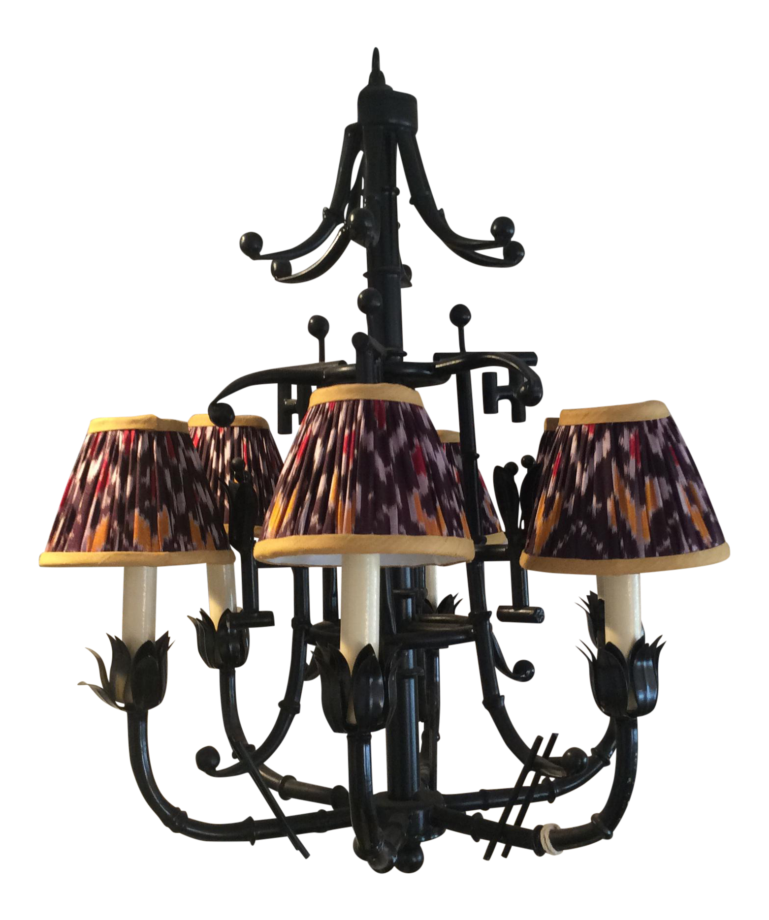 Vintage faux bamboo 5 light chandelier with ikat lampshades faux vintage faux bamboo 5 light chandelier with ikat lampshades arubaitofo Images