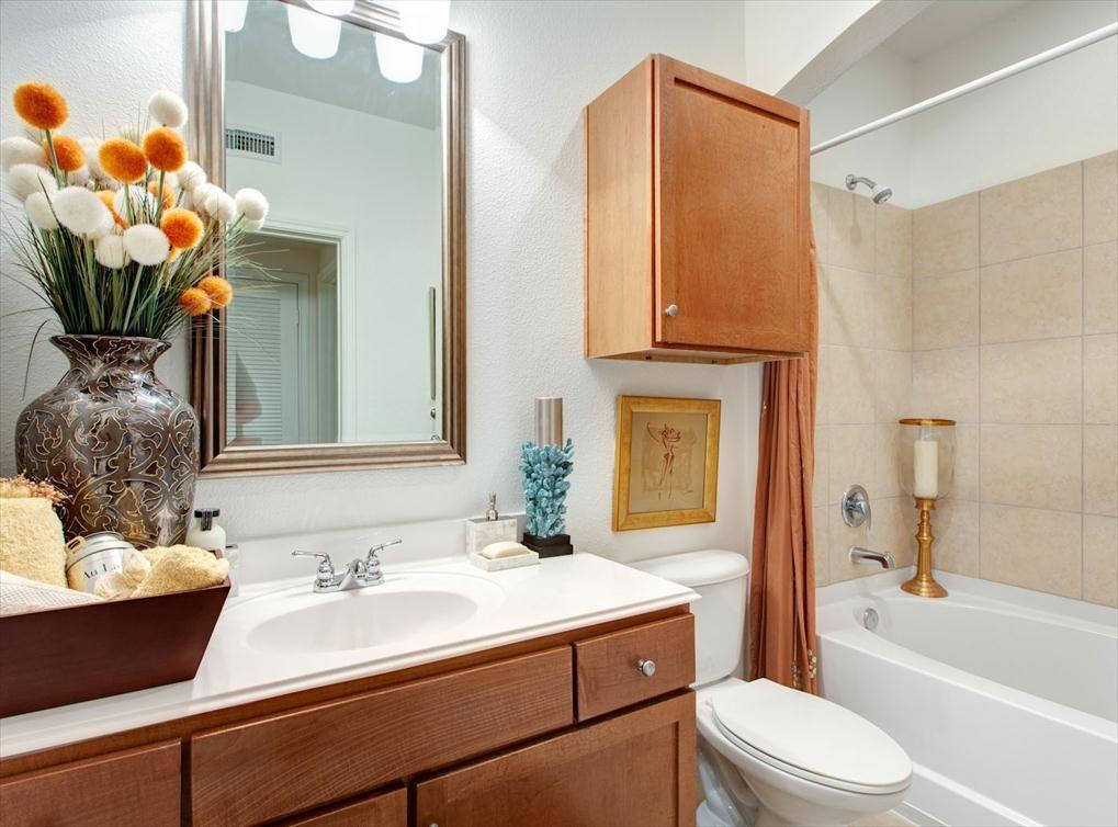 Model bathroom at AMLI 2121, a luxury apartment community