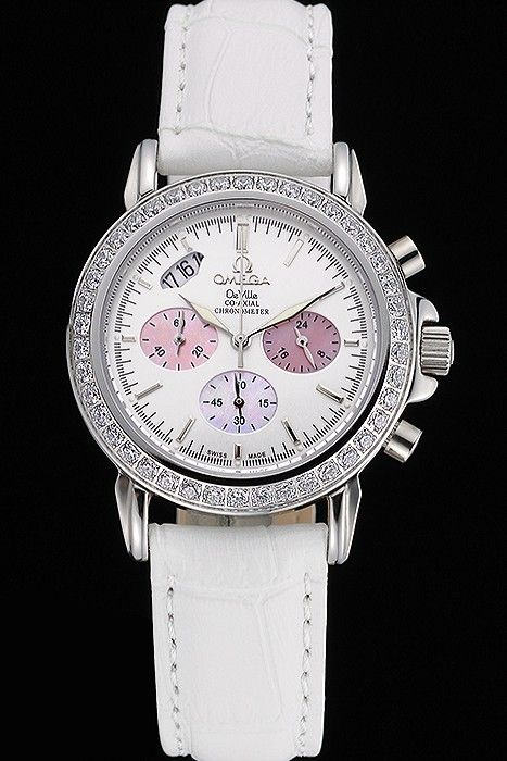 Omega De Ville Chronograph White Dial Stainless Steel Diamond Case White Leather Bracelet  622453