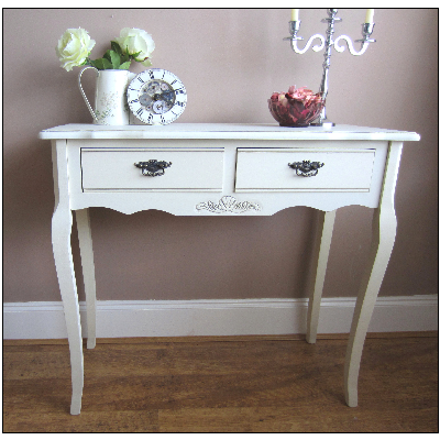 French Ivory Cream Console Hallway Table 2 Drawer Vintage Chic Table Lamps Living Room Console Table Hallway Cream Console Table