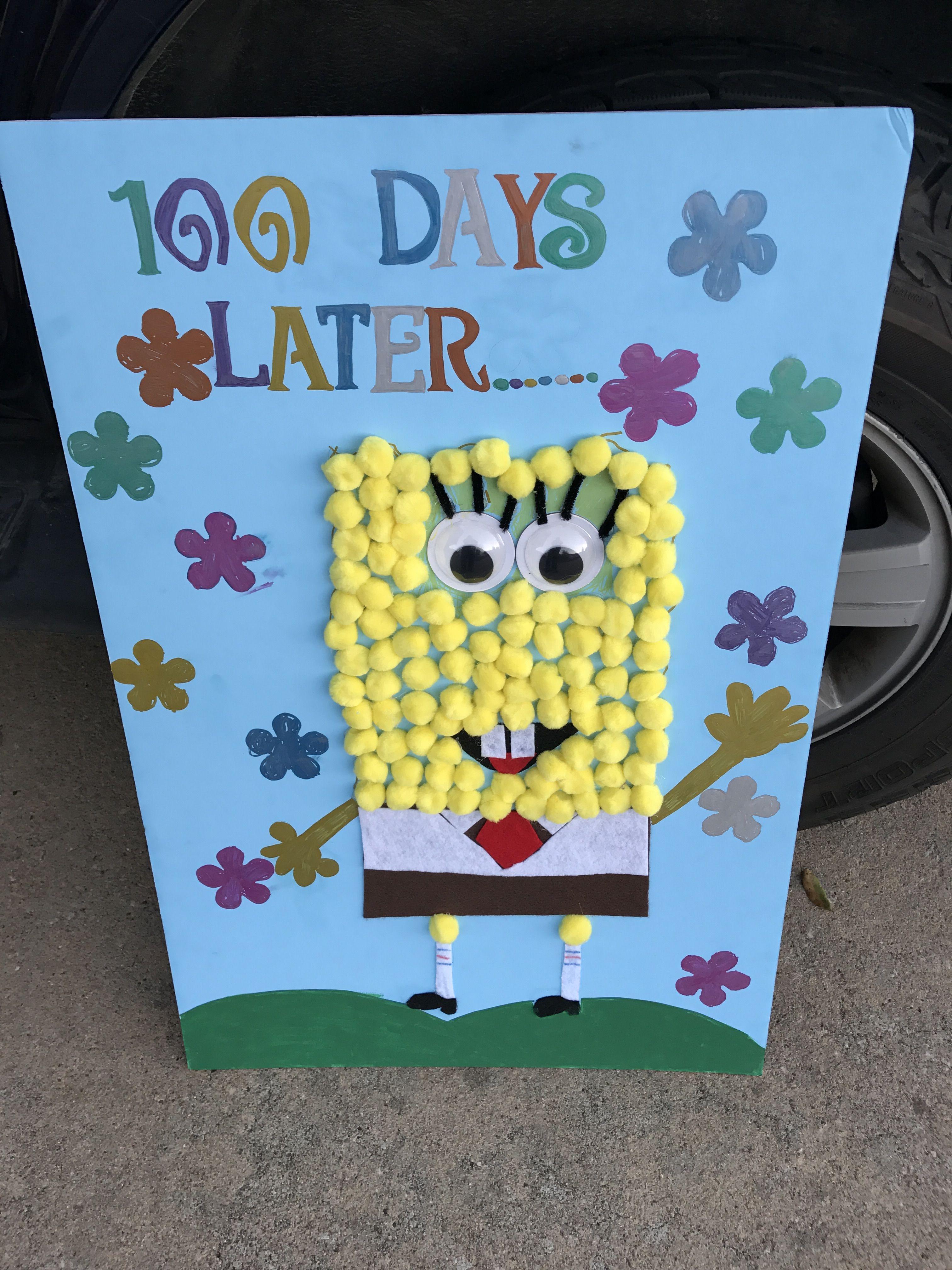 100 Days Of School Poster Spongebob Theme